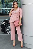 Костюм женский двойка брюки и пиджак на лето большого размера
