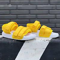 Спортивні жіночі сандалі Adidas Adilette тканинні яскраві жовті | Красиві зручні босоніжки Адідас Адилет