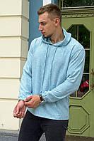 Худи мужское льняное с капюшоном, летняя мужская льняная кофта с капюшоном бирюза, фото 1