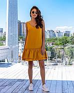 Сукня жіноча завдовжки до колін з подвійним воланом, 01014 (Гірчичний), Розмір 42 (S), фото 2