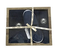 Мужской комплект для бани purry (юбка, полотенце 50*90, тапочки) синий #S/H
