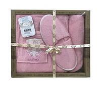 Женский комплект для бани purry (юбка, капюшон, тапочки) sauna розовый #S/H