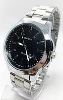 Часы мужские наручные CASIO(Касио), серебро с черным циферблатом ( код: IBW677SB )