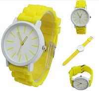Женские часы GENEVA Женева с белым циферблатом, силиконовый браслет (желтые), женские ручные часы