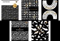 "Зошит 24 клітинка ""Black abstract"" софт-тач+фольга золото Yes"