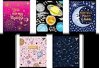 """Зошит 24 клітинка """"Cosmic system"""" фольга золото+софт-тач+УФ-віб. Yes"""