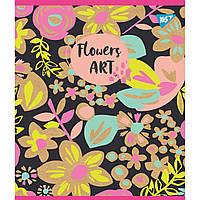 "Зошит 24 клітинка ""Flowers art"" крафт, білила+глітер Yes"
