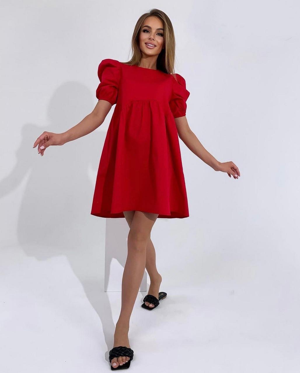 Женское платье котоновое свободного кроя с завышенной талией с коротким рукавом, 01018 (Красный), Размер 42