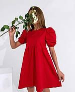 Женское платье котоновое свободного кроя с завышенной талией с коротким рукавом, 01018 (Красный), Размер 42, фото 2