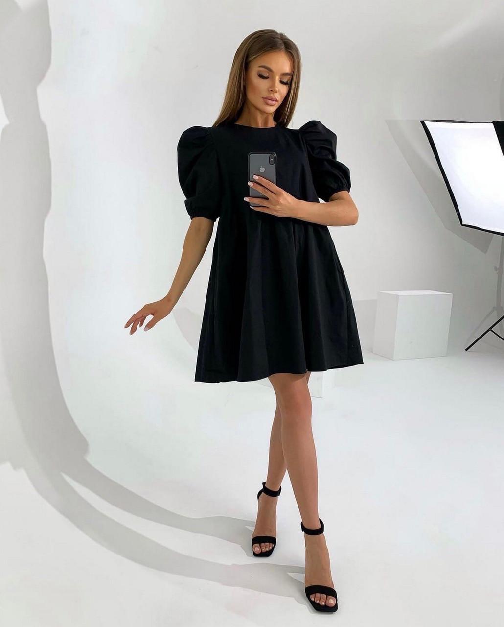 Котонове жіноче плаття вільного крою з рукавом ліхтарик, 01019 (Чорний), Розмір 42 (S)