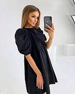 Котонове жіноче плаття вільного крою з рукавом ліхтарик, 01019 (Чорний), Розмір 42 (S), фото 2