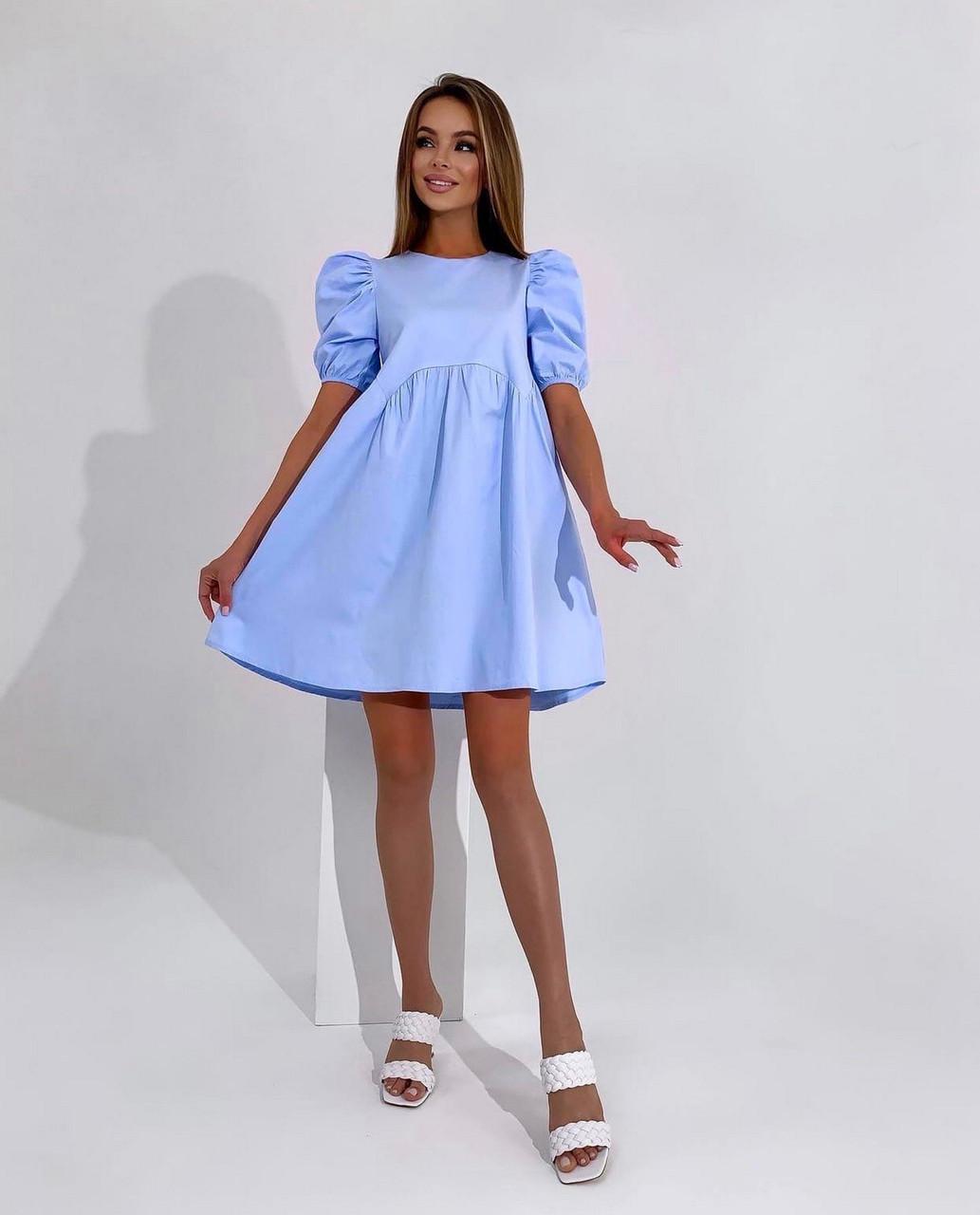 Лаконичное платье весна-лето из коттона с коротким рукавом с завышенной талией, 01020 (Голубой), Размер 42 (S)