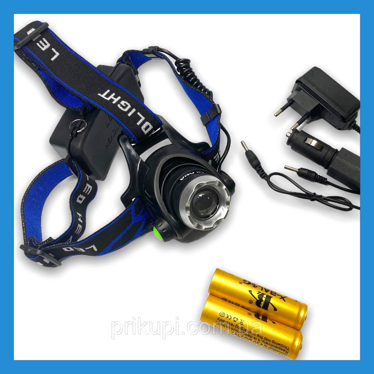 Налобний ліхтар Police 204C (BL-6699) - 28000W , Т6, zoom, аккум.