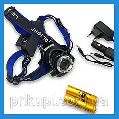 Налобный фонарь Police 204C (BL-6699) - 28000W , Т6, zoom, аккум.