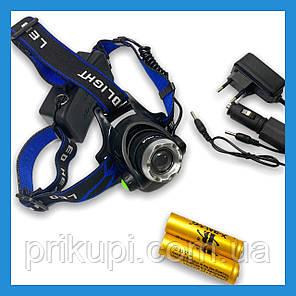 Налобний ліхтар Police 204C (BL-6699) - 28000W , Т6, zoom, аккум., фото 2