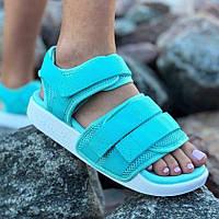 Спортивні жіночі сандалі Adidas Adilette тканинні яскраві м'ятні | Красиві зручні босоніжки Адідас Адилет