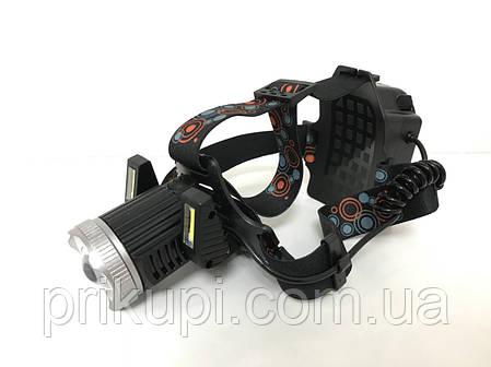 Налобний ліхтар з акумулятором або на батарейках 3*АА Police JR-6000-T6 2COB, фото 2