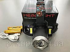 Налобный фонарь с аккумулятором или на батарейках 3*АА Police JR-6000-T6 2COB, фото 2
