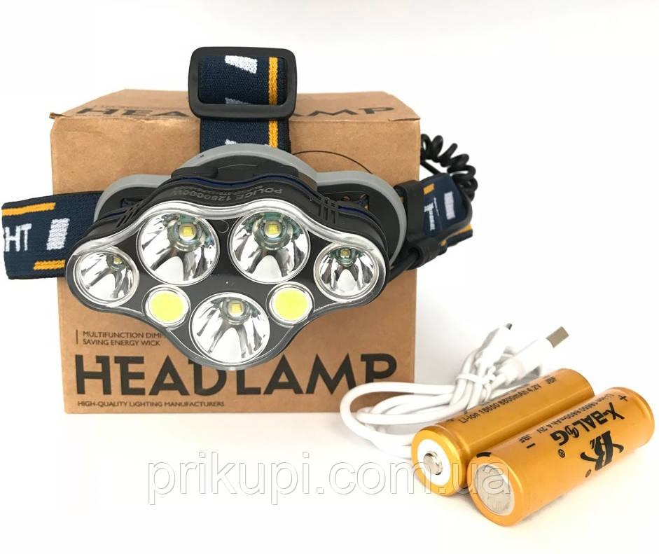 Фонарь налобный мощный аккумуляторный светодиодный Police BL-KC07-3T6+2XPE+2COB USB