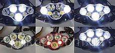 Фонарь налобный мощный аккумуляторный светодиодный Police BL-KC07-3T6+2XPE+2COB USB, фото 3