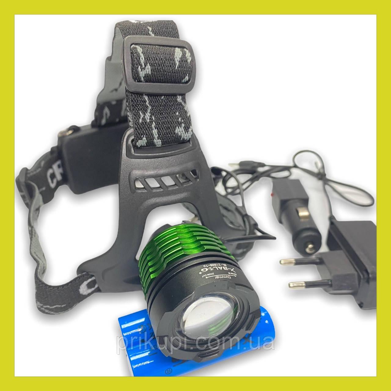 Налобный фонарь Police BL 2188B - T6, zoom, аккумуляторы 18650 х2, ЗУ 12-220В