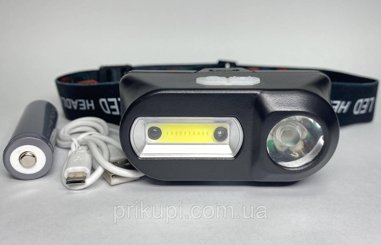 Маленький налобний ліхтар з акумулятором і USB зарядкою BL-1804A COB + XPE + Sensor
