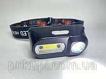 Маленький налобний ліхтар з акумулятором і USB зарядкою BL-1804A COB + XPE + Sensor, фото 3