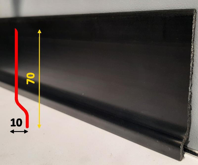 Напольный гибкий плинтус из вспененной виниловой смолы 70 мм, 2,0 м, Чёрный