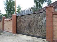Откатные кованные ворота, фото 1