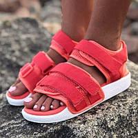 Спортивні жіночі сандалі Adidas Adilette тканинні яскраві рожеві | Красиві зручні босоніжки Адідас Адилет