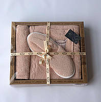 Женский комплект для бани purry (юбка, капюшон, тапочки) кадушка с шапкой пудра #S/H