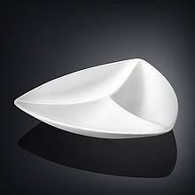 Менажница Wilmax треугольная длина 24см фарфор, Менажница белая с тремья ярусами, Фарфороровая белая менажница