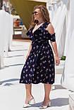 Нарядное молодежное платье больших размеров Софт Размер 50 52 54 56 58 60 Разные цвета, фото 4