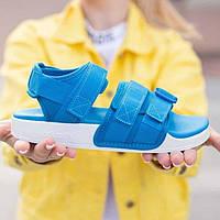 Модні яскраві сандалі Adidas Adilette сині | Спортивні літні відкриті босоніжки Адідас Адилет