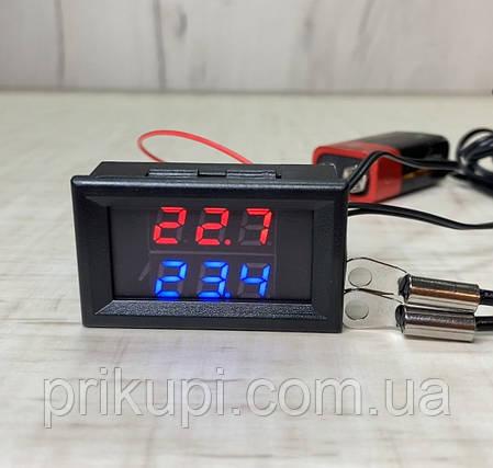Цифровий термометр з двома виносними датчиками температури -20°C ~ 110°C 6 - 28 вольта Врізний (клеми), фото 2