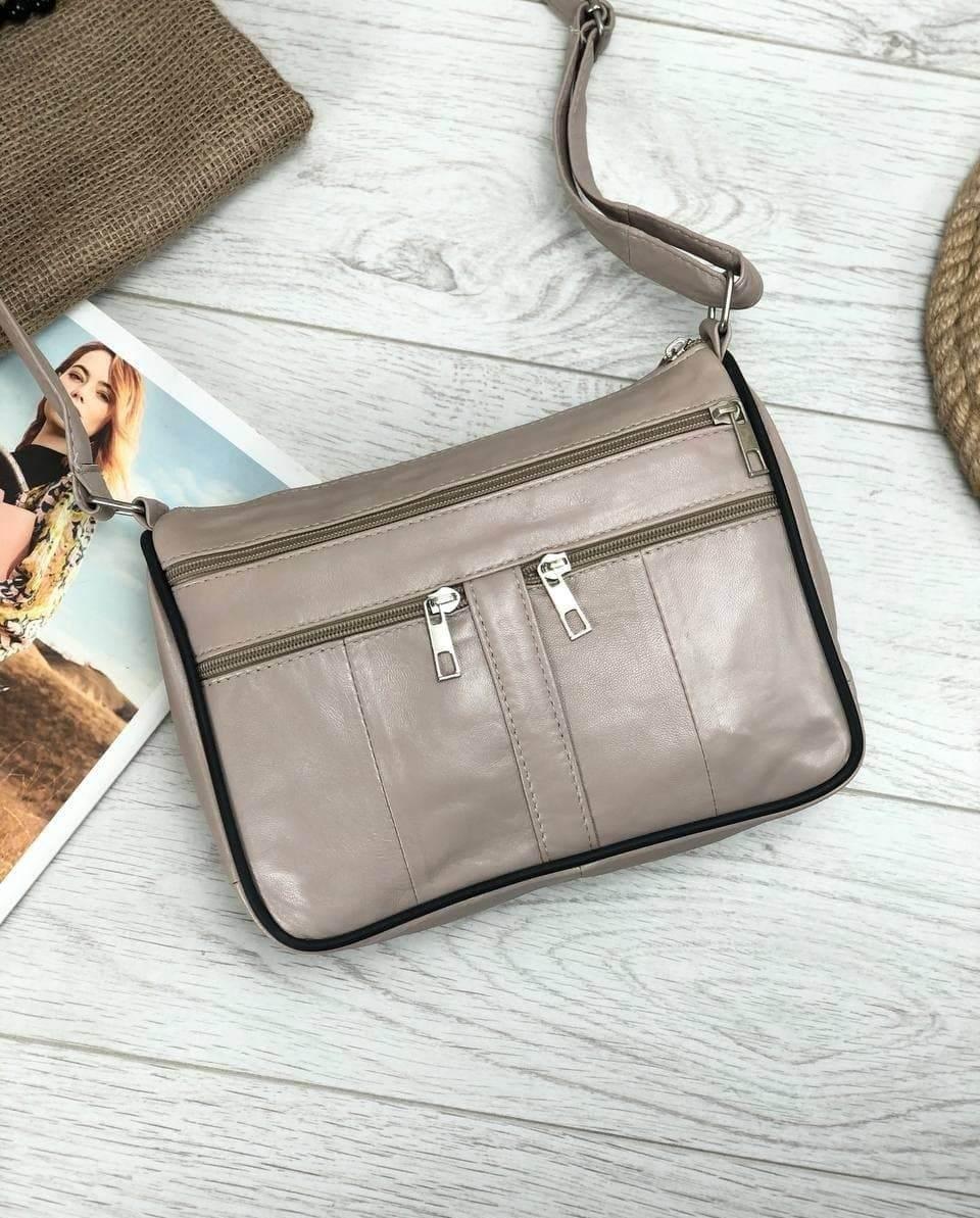Жіноча бежева сумка натуральна шкіра код 22-111