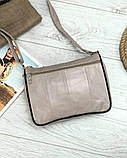 Жіноча бежева сумка натуральна шкіра код 22-111, фото 3