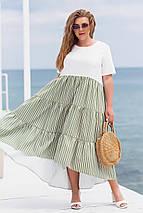 Летнее платье свободного фасона с высокой посадкой из натуральной ткани лен, фото 2