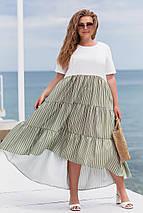 Летнее платье свободного фасона с высокой посадкой из натуральной ткани лен, фото 3