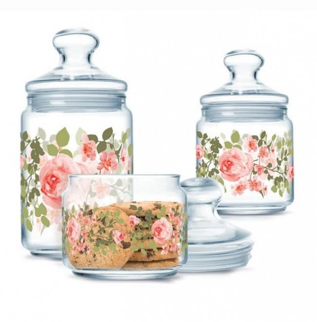 Набір банок для сипких продуктів з рожевими півоніями 3 предмета Luminarc Jar Lupin (P2312)