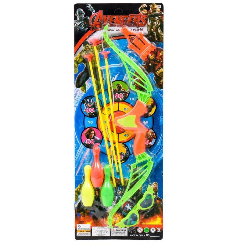 Лук со стрелами, кеглями и очками