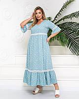 Летнее женское свободное платье с воланом (большой размер)