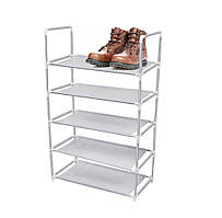 Полка-подставка для обуви тканевая (5 ярусов, серая, 88х56 см) этажерка обувная   стеллаж под обувь (ST)