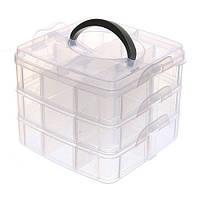 Коробка Органайзер Кейс Для Снастей Бисера 150Х150X125Мм 3 Уровня 18 Ячеек