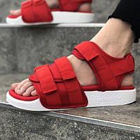 Модні яскраві сандалі Adidas Adilette червоні | Спортивні літні відкриті босоніжки Адідас Адилет