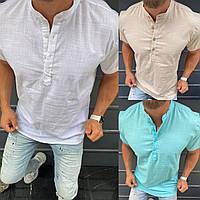 Льняная мужская рубашка с коротким рукавом( 3 цвета )