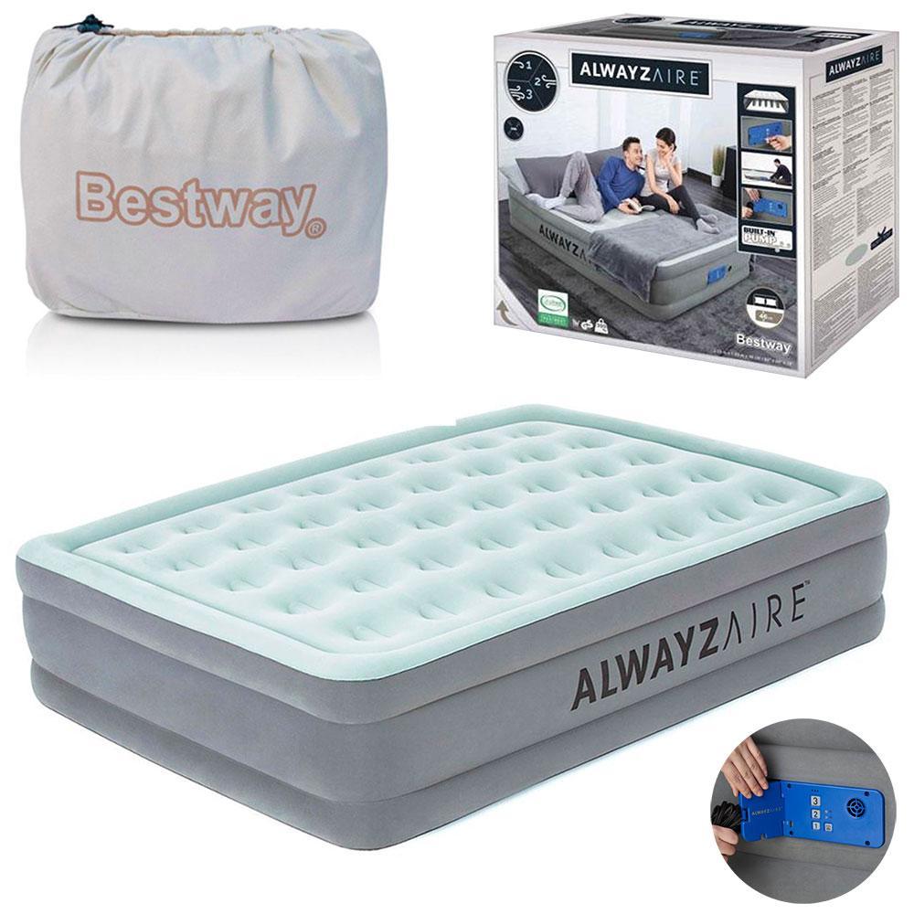 Надувная двуспальная кровать Bestway 67706, 152 х 203 х 46 см, встроенный электронасос Alwayzaire