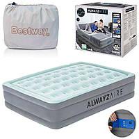 Надувна двоспальне ліжко Bestway 67706, 152 х 203 х 46 см, вбудований електронасос Alwayzaire