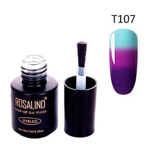 Гель-Лак Для Нігтів Манікюру 7Мл Розалінда, Термо, Т107 Блакитний Пурпурний