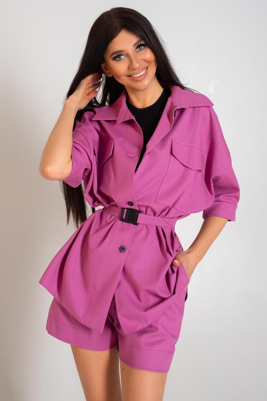 Костюм женский льняной шорты и пиджак фуксия